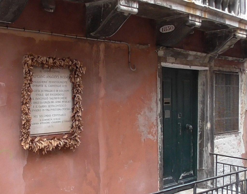 Presunta casa nella quale i Mozart hanno alloggiato a Venezia, ma si tratta di una falsa verità