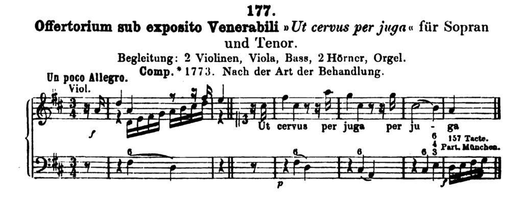 Köchel, catalogo delle Opere di Mozart, Offertorio K 177