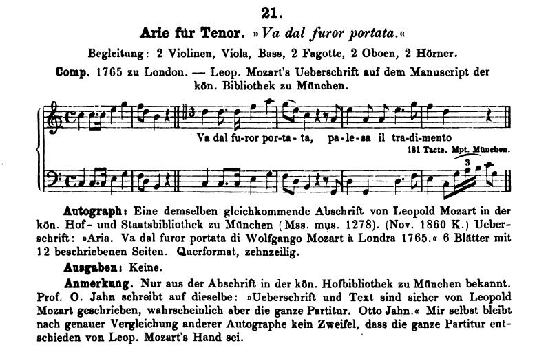 Catalogo di Ludwig von Köchel, composizione K21