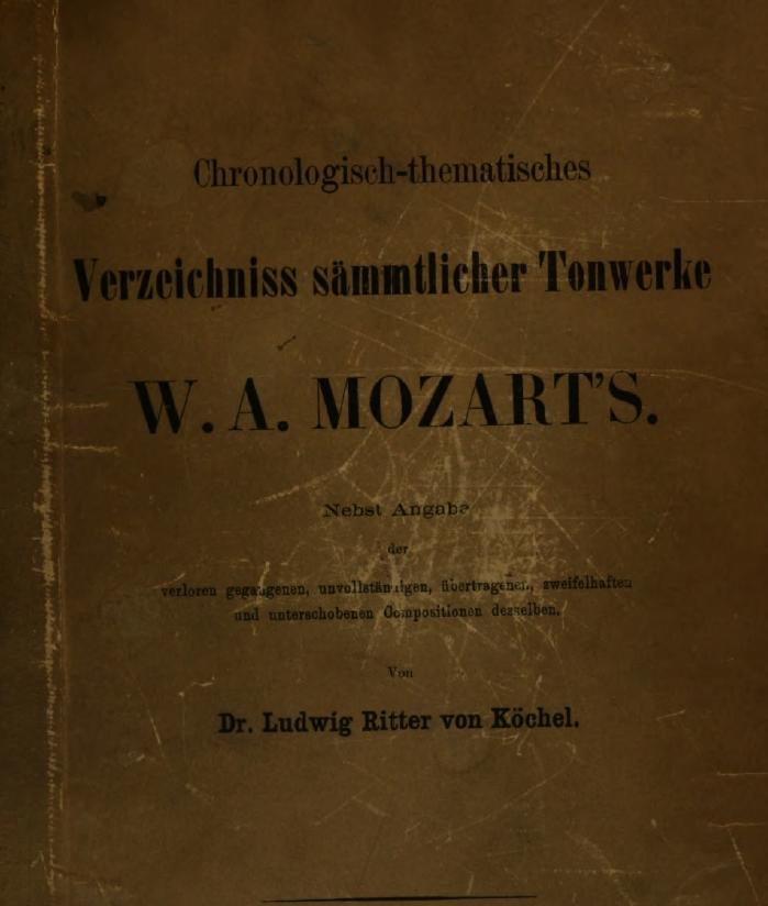 Catalogo Köchel delle opere di Mozart, immagine della copertina