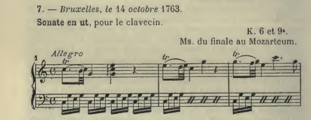 Mozart, n.7 del catalogo Wyzewa-S. Foix, Sonata per cembalo e violinop d'accompagnamernto