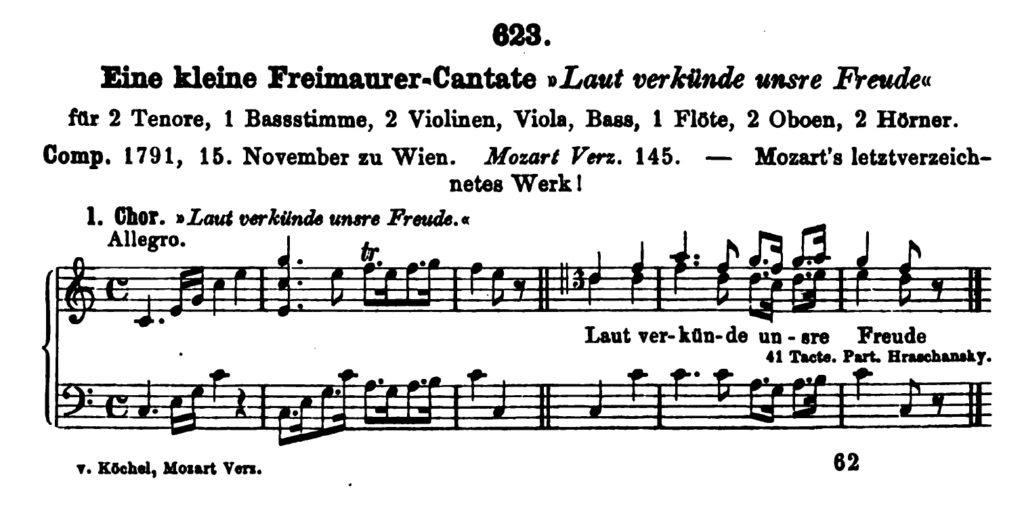 Köchel, catalogo delle Opere di Mozart, K 623, Piccola Cantata Massonica
