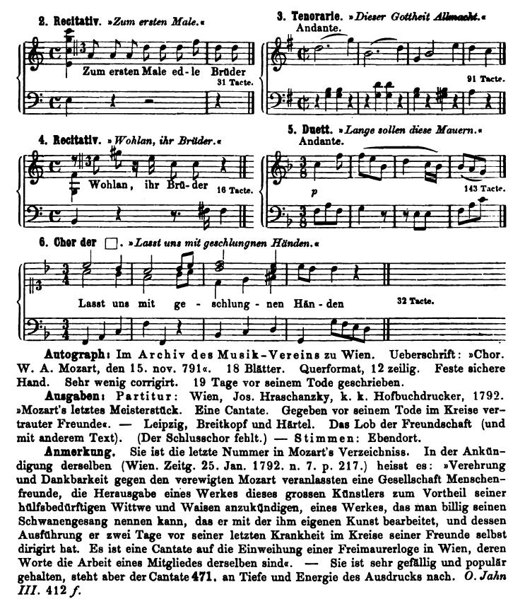 Köchel, catalogo delle Opere di Mozart, Cantata K 623 Edizioni, Autografo