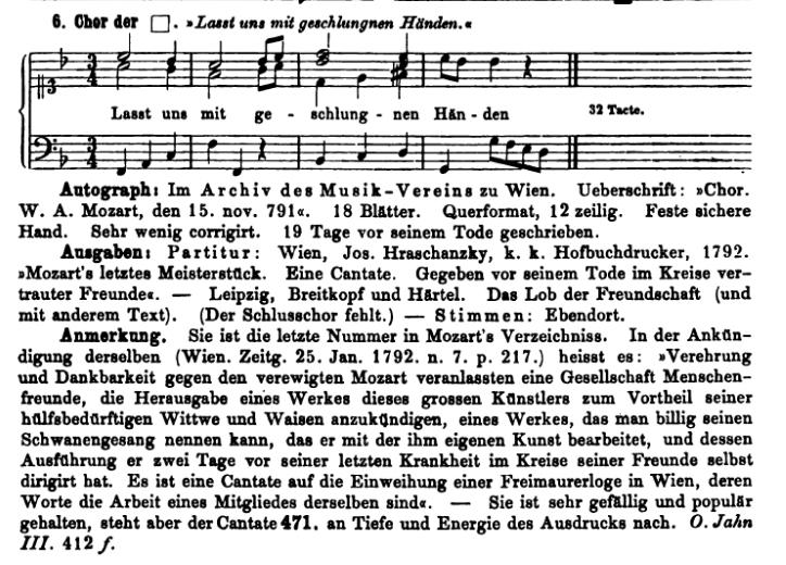 Köchel, catalogo delle Opere di Mozart, Cantata K 623a