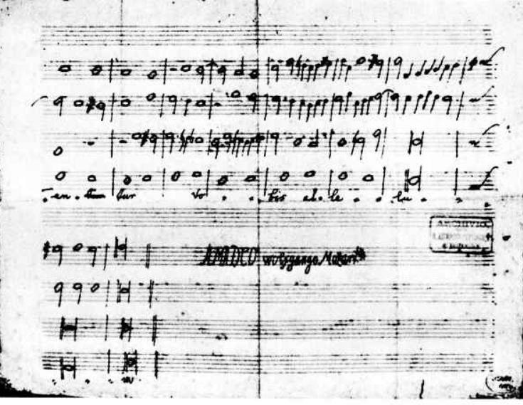 K 86 Antifona Quaerite-primum regnum Dei: copiato da Mozart e segnato mp