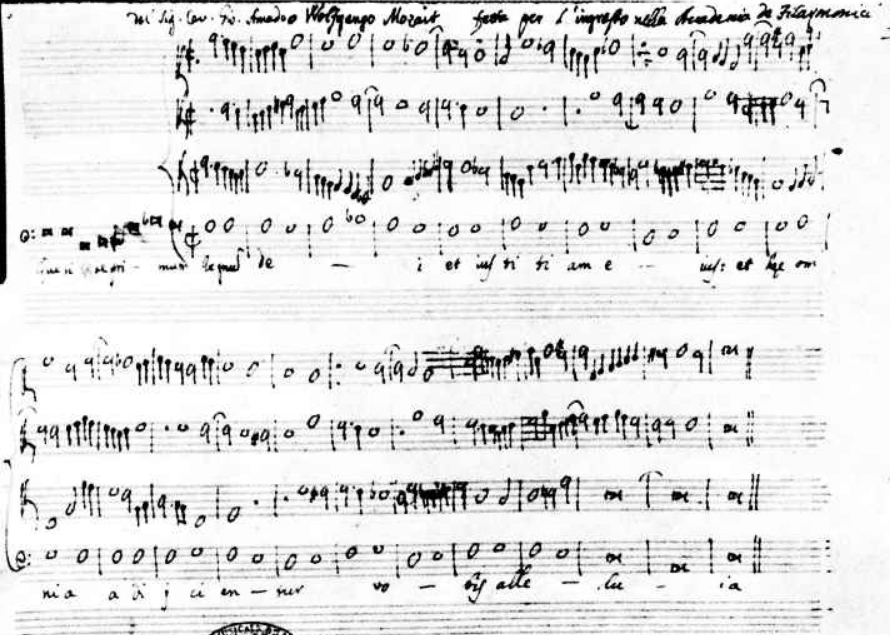 Antifona Quaerite primum regnum Dei, Autografo di Mozart con la falsa attribuzione mp