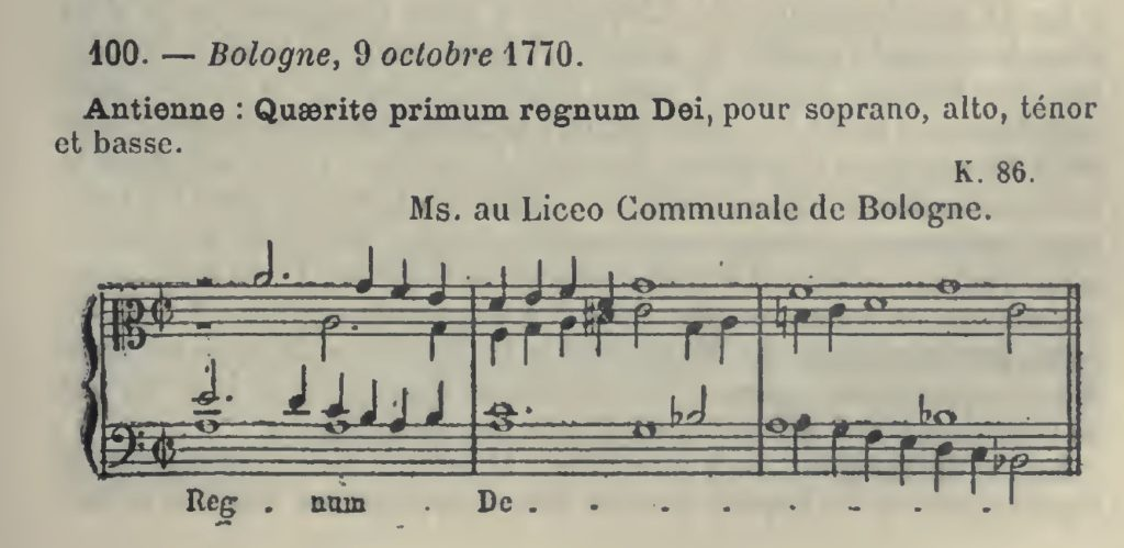 Catalogo Wyzewa Saint-Foix, WSF-100, Antifona: Quaerite primum regnum Dei