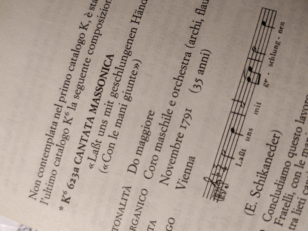 Catalogo di Poggi e Vallora, coro della K.623a considerato in DO maggiore anziché FA . Questa musica è divenuta in seguito l'inno austriaco di Mozart