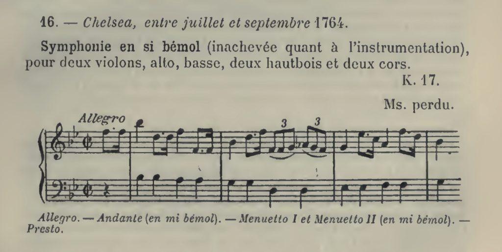 WYZEWA - De Saint-Foix, Sinfonia catalogata al n.16 - Köchel K 17, scritta presumibilmente nel 1764