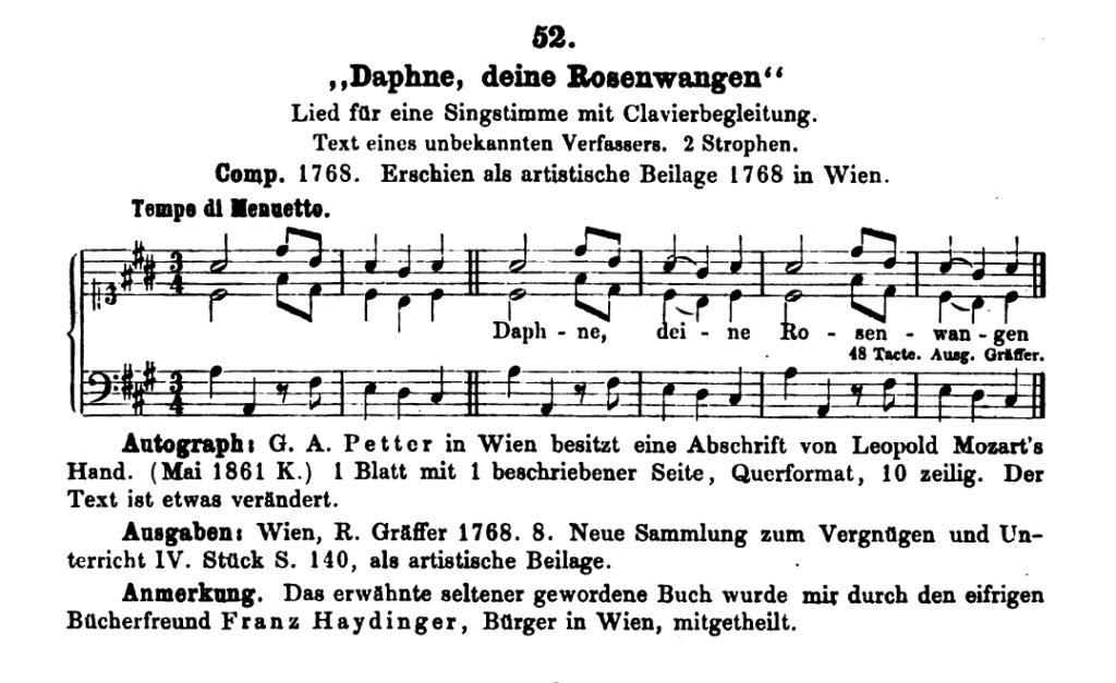 Daphne di Mozart, al numero K 52 del catalogo Kochel